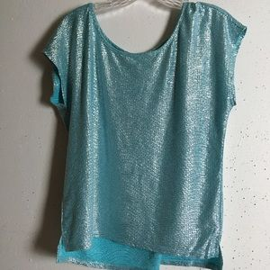 Candie's Teal Shimmery Short Sleeve Top, NWOT, L